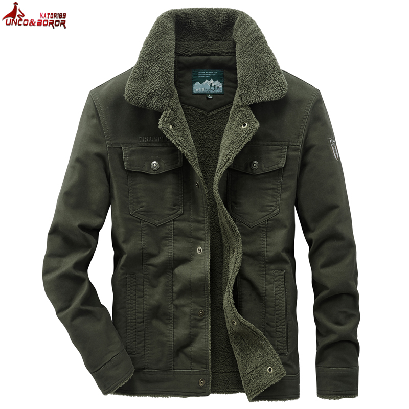 Big size 6XL 7XL 8XL Thick Warm Winter Military Fleece Cargo jacket Male 100% cotton Casual Air Force Flight Jacket men clothing