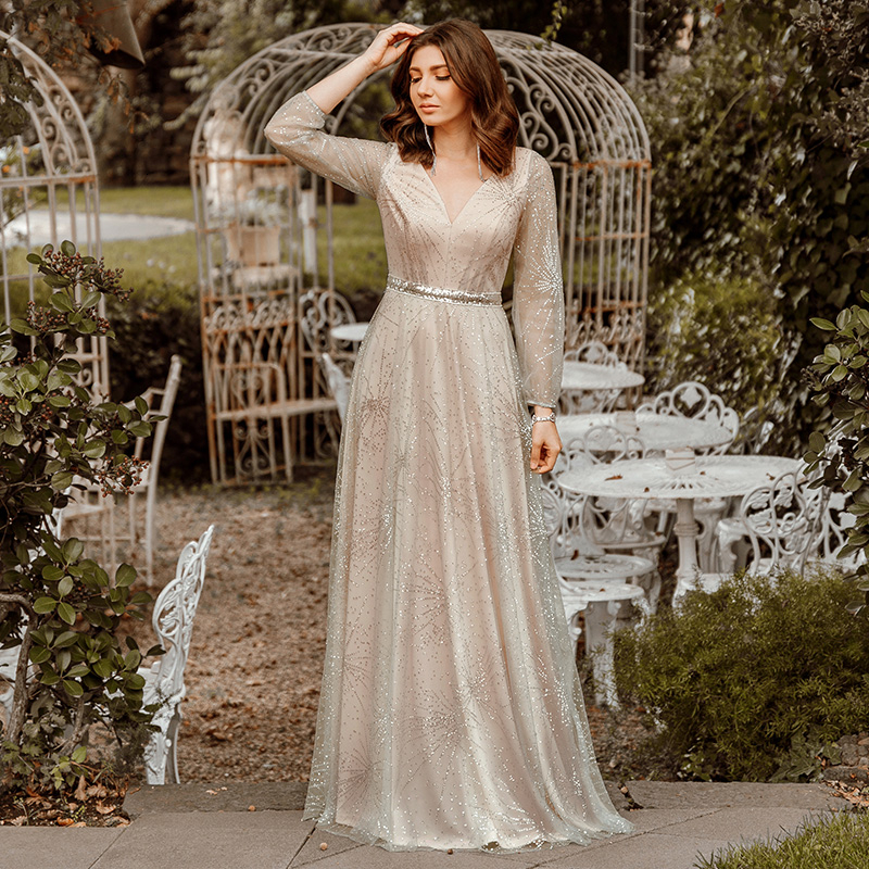Sparkle Evening Dresses Long Ever Pretty EP00844GY A-Line V-Neck Tulle Sleeve Elegant Special Occasion Dresses Lange Jurken 2020