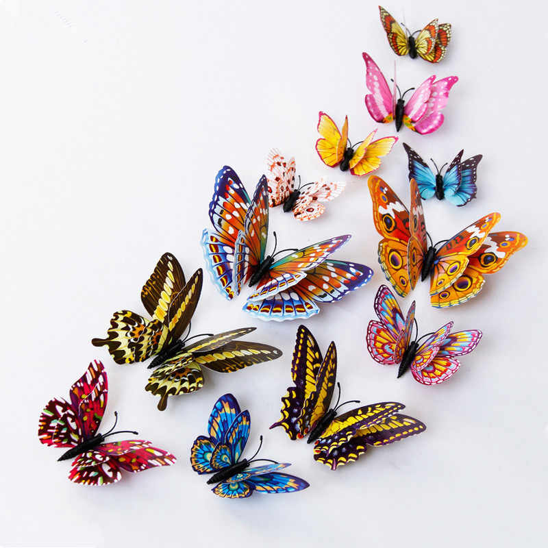 Luminous Fridge Magnets 12PCS 3D Butterfly Design Decal Art Stickers Room Magnetic Home Decor DIY Wall Decoration Newest