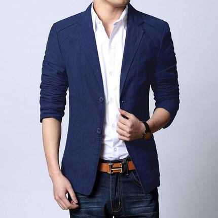 New Brand 2020 Blazer Men Casual Cotton Blazer Slim Fit Suit Fashion Men's Jacket Spring Autumn Thin Plus Size 5XL HJ496 's