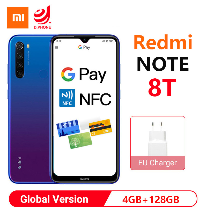 Global Version Xiaomi Redmi Note 8T 4GB 128GB NFC Smartphone Snapdragon 665 Octa Core 48MP Quad Camera 4000mAh 18W Fast Charge
