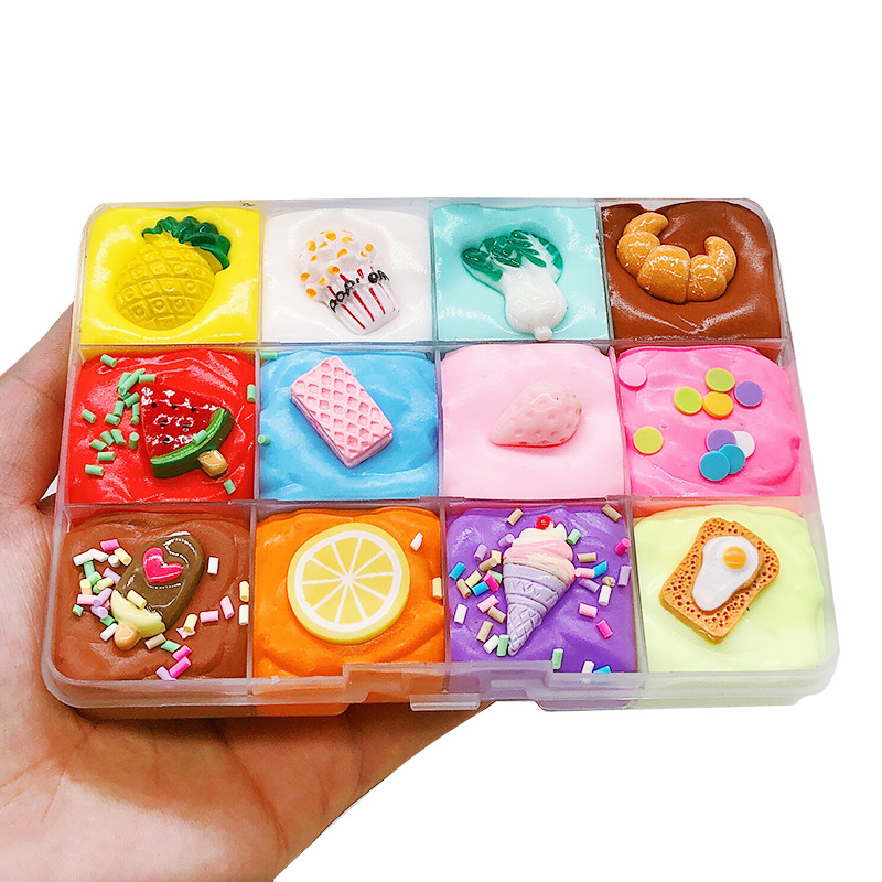 Новая Фруктовая тарелка хлопок слизи Сделай Сам глиняная игрушка слоеный Клей Шарм для цветной глины пушистые поставки слаймов игрушка