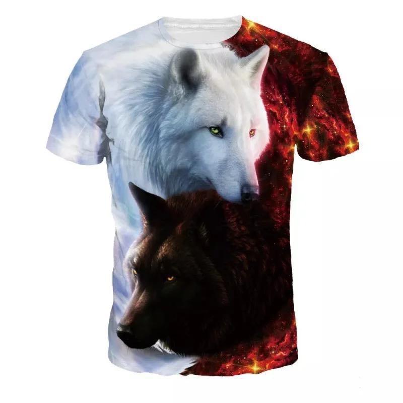 Lovers Wolf Printed T shirts Men 3d T-shirts Drop Ship Top Tee Short Sleeve Camiseta Round Neck Tshirt Fashion Casual Brand 1