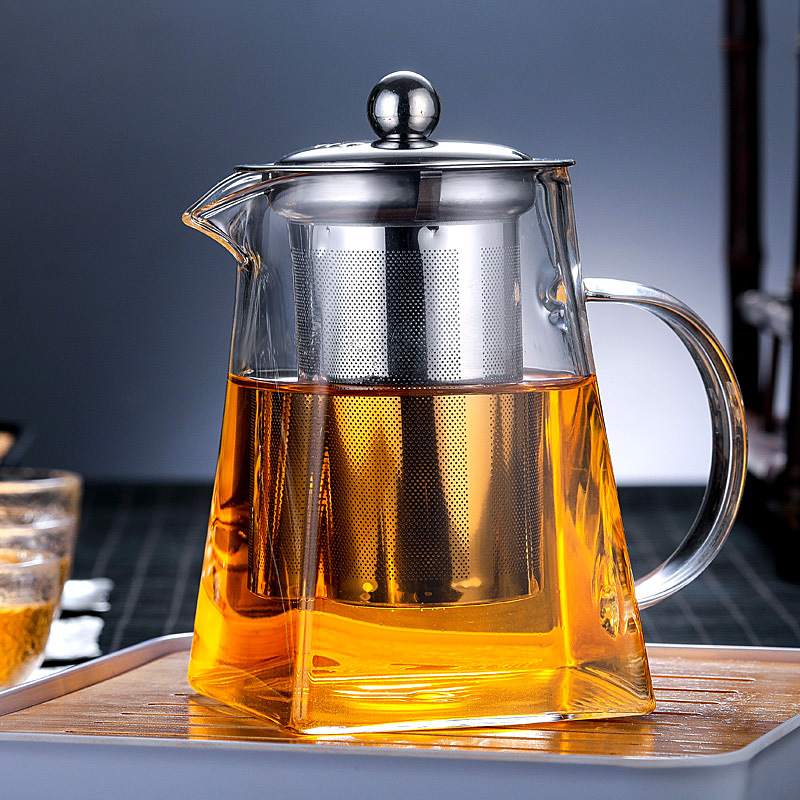 Heat resistant Glass Square Tea Pot Stainless Steel Filter Scented Tea Boiled Teapot High temperature Resistant Thick Tea Celado|Tea Trays| |  - title=