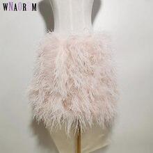 Новый стиль 100% натуральный страусиный волос короткая юбка