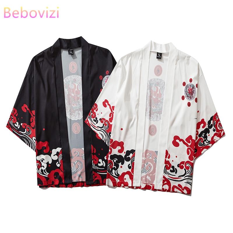 Japanese Fashion Blouse Kimono Cardigan Asian Clothes Obi Samurai Haori Harajuku Black