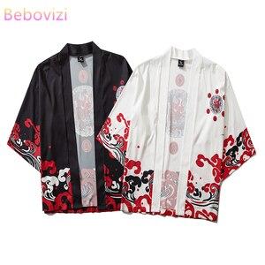 17 Style Harajuku Japanese Fashion Kimono 2020 White Black Men and Women Cardigan Blouse Haori Obi Asian Clothes Samurai(China)