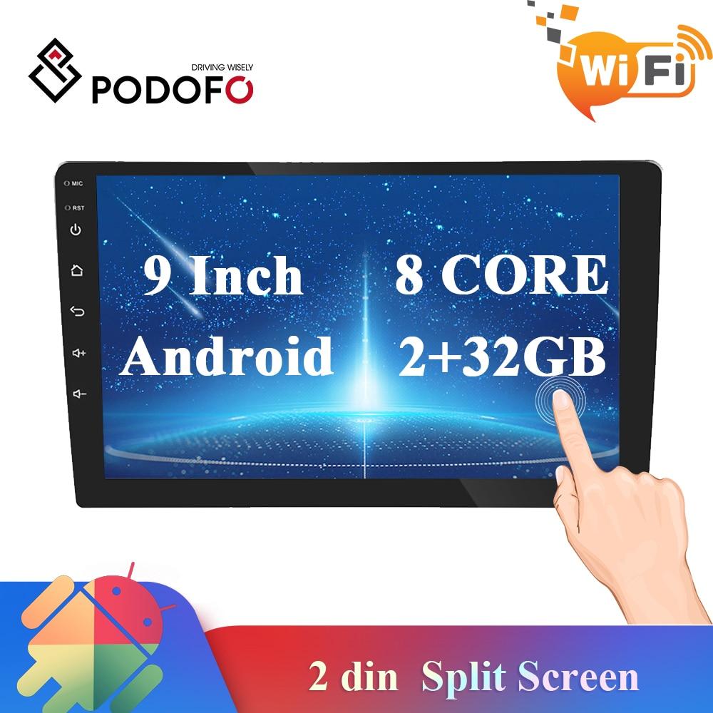 Podofo 9 pulgadas 2 din coche Android radio reproductor Multimedia pantalla 2G RAM GPS Wifi No reproductor de vídeo DVD AutoRadio estéreo para coche 5 uds 3,5mm conector de clavija de Metal estéreo de 3 polos adaptador de enchufe y Jack 3,5 con terminales de cable de soldadura enchufe estéreo de 3,5mm
