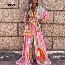 Sexy Deep V-Neck Floral Print Hem Maxi Dresses Summer Women Elegant Button Elastic Waist Long Party Dress Loose Slit Beach Dress