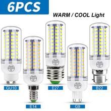 Lámpara LED E27 de iluminación, bombilla G9 de 220V tipo vela, E14, de maíz, GU10, 3W, 5W, 7W, 9W, 12W, 15W, B22, 240V, 6 uds.