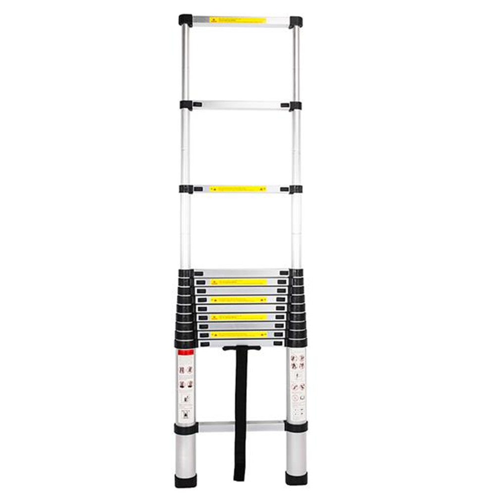3.8m Single Side Extension 12-Step Aluminum Stretchable Ladder Black & Silver Garden Tools Home Tools