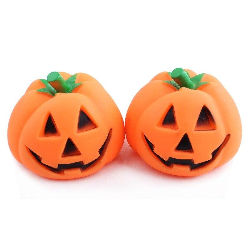 Cute Cartoon Halloween Theme Style Pumpkin Head Latex Press Sound Figures Toys Classic Cushaw Appearance Children Fun Toys