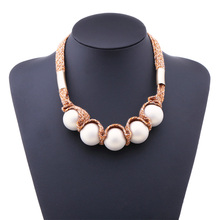 Europe and the United States exaggerated new jewelry acrylic beads female necklace cotton rope accessories