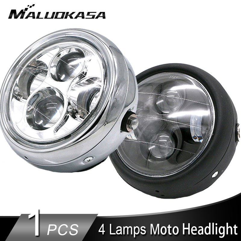 Universal LED Motorcycle Headlight CG125 Motorbike Bulbs 12V Round Moto Spotlight Headlamp Front Lights For Harley White DRL