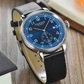 Parnis 42 мм синий циферблат автоматические механические мужские часы сапфировый серебристый корпус календарь Мужские часы Топ люксовый бренд...