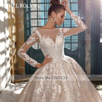 ETHEL ROLYN A-Line Wedding Dress 2020 Elegant Long Sleeve Beading Lace Appliques Princess Cathedral Bridal Gown Vestido De Novia