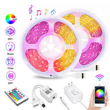 Tuya WiFi LED Strip Light RGB 12V Smart Music Sync LED Light Build-in Microphone DJ Lamp Diode Tape Work with Alexa Google Home