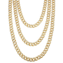 30inch Cubic Zirconia Necklaces Cuban Link Chain Men's Hip Hop Gold Color Necklace Women Luxury Jewelry