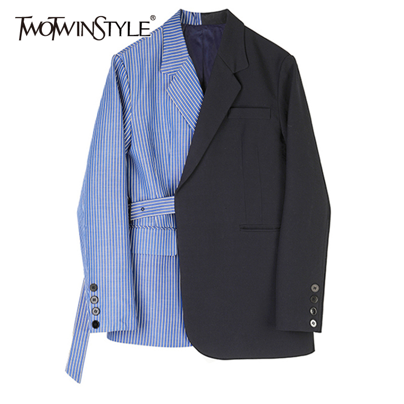 TWOTWINSTYLE Women Striped Spliced Mixed Color Blazer New Lapel Long Sleeve Loose Fit Jacket Fashion Tide Spring Autumn 2019