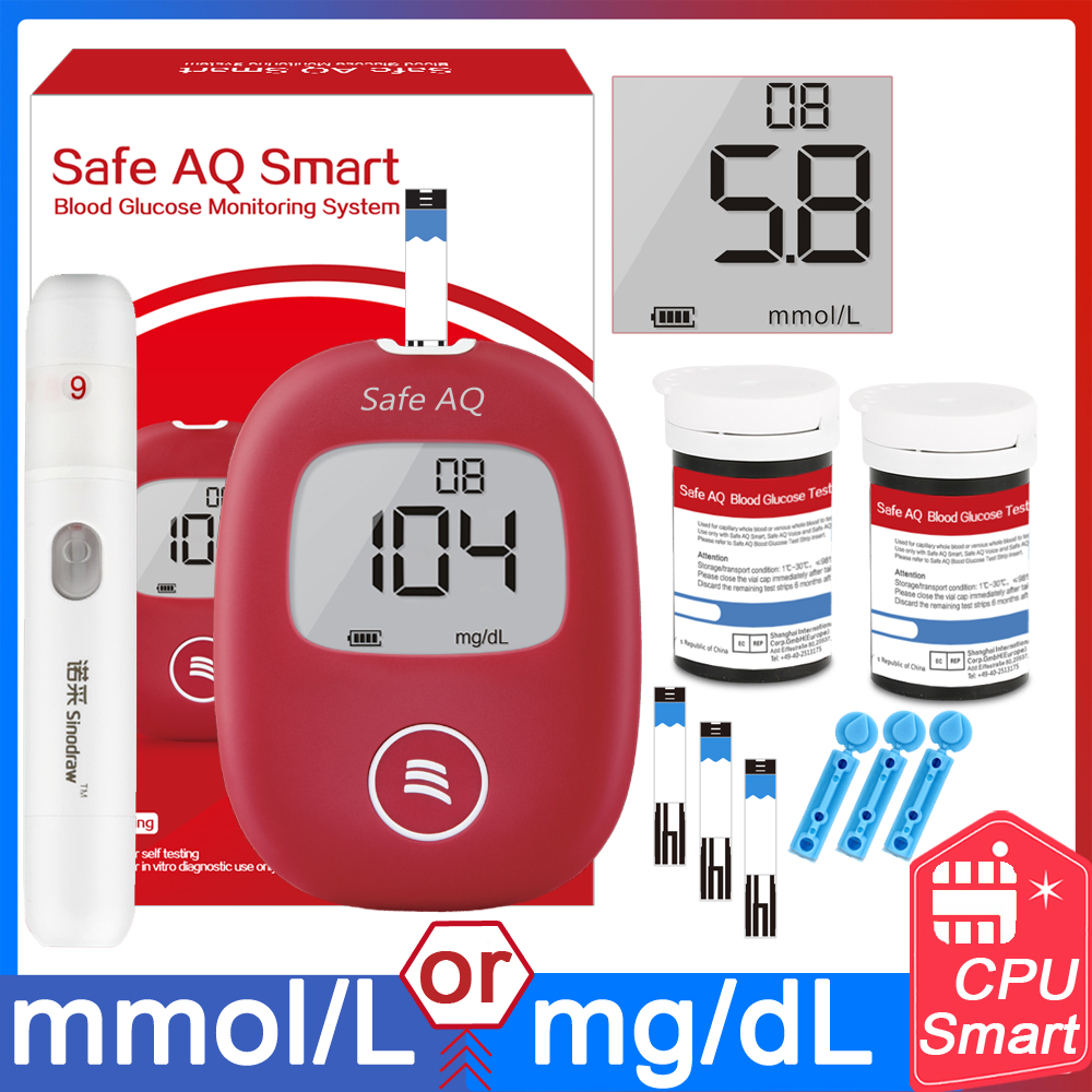 Safe Smart 5s 0.6ul Blood Glucose Meter With Test Strips And Lancets Needles Of For Diabetic Medical Monitor Glucometer English