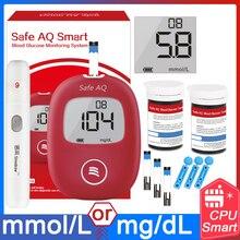Sicuro Smart 5s 0.6ul Misuratore di Glucosio Nel Sangue con Strisce Reattive e Le Lancette Aghi di per Diabetici Medical Monitor Glucometro inglese