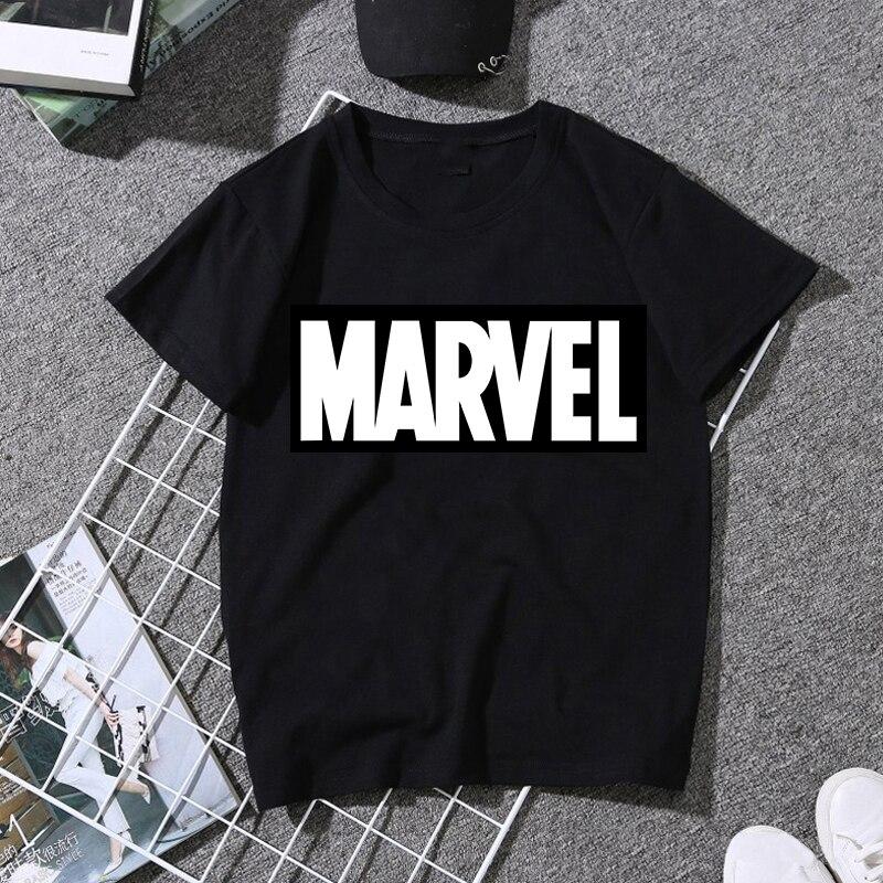 LUSLOS 2019 Women's Tops T Shirts Casual White Black T-shirt Female T-shirts Harajuku MARVEL Print Streetwear Women Clothes 2019