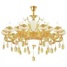 European Gold Crystal Chandelier Luxury Duplex Building Restaurant Bedroom Zinc Alloy Jade Candle Glass Villa Lamps Pendant Lamp
