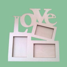 1pc Wooden European LOVE Siamese Letter Photo Frame Children's DIY White Embryo Photo Frame Snowflake Mud Photo Frame(China)