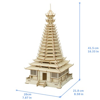 Sanjing Drum Tower DIY 3D Wooden Puzzle Woodcraft Assembly Kit Cutting Wood Toys For Christmas Gift 3197 фото
