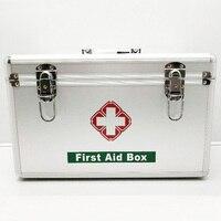 Silber Familie Tragbare First Aid Kit Medizin Box 2 Schichten Portable Mobilen Camping Überleben Notfall Medikament Lagerung Box DJB0049-in Notfallkoffer aus Sicherheit und Schutz bei