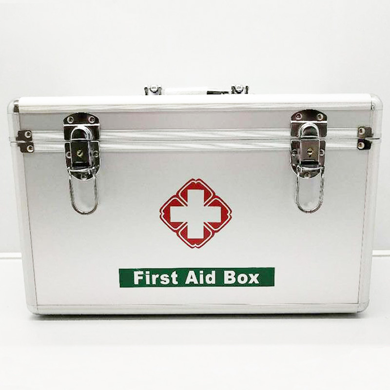 Silver Family Portable First Aid Kit  Medicine Box 2 Layers Portable Mobile Camping Survival Emergency Drug Storage Box DJB0049