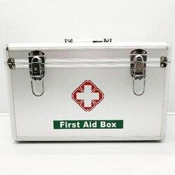 Zilver Familie Draagbare Ehbo-kit Geneeskunde Doos 2 Lagen Draagbare Mobiele Camping Survival Emergency Drug Opbergdoos DJB0049