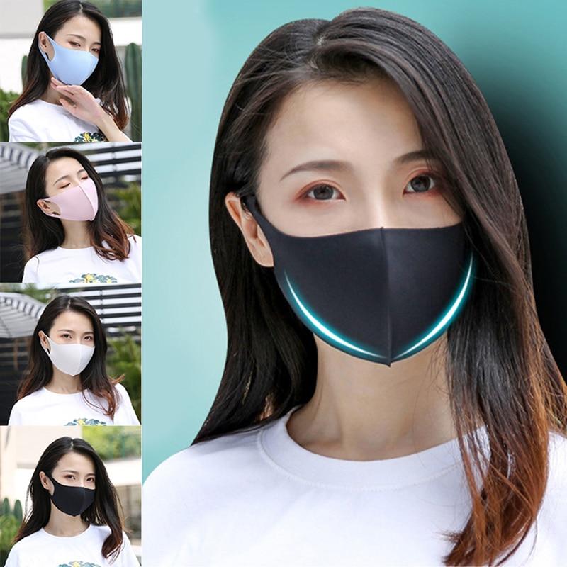 1PC Black Korean Version Ice Silk Mouth Mask Women Men Breathable Sponge Face Mask Reusable Washable Face Shield Unisex