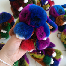 Genuine real rex rabbit Fur Key Chains For Women Bag Toys Doll Cute pluff colourful Bunny Keychain Pom Pom Lovely Car Keyring(China)