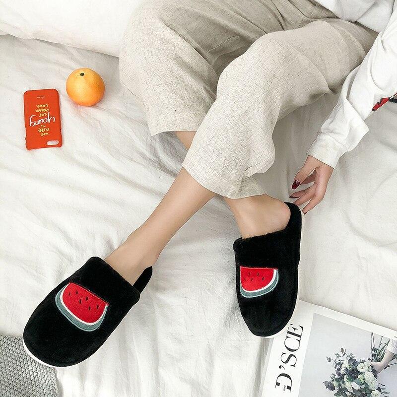 SWQZVT Indoor furry slippers women 2020 fruit print bedroom fur slides women shoes non-slip flat soft house floor female slipper (9)