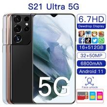 Nova versão global samsug s21ultra 5g 12gb 512gb 6.7 Polegada android11 smartphone 6800mah tela cheia deca núcleo lte telefone de rede