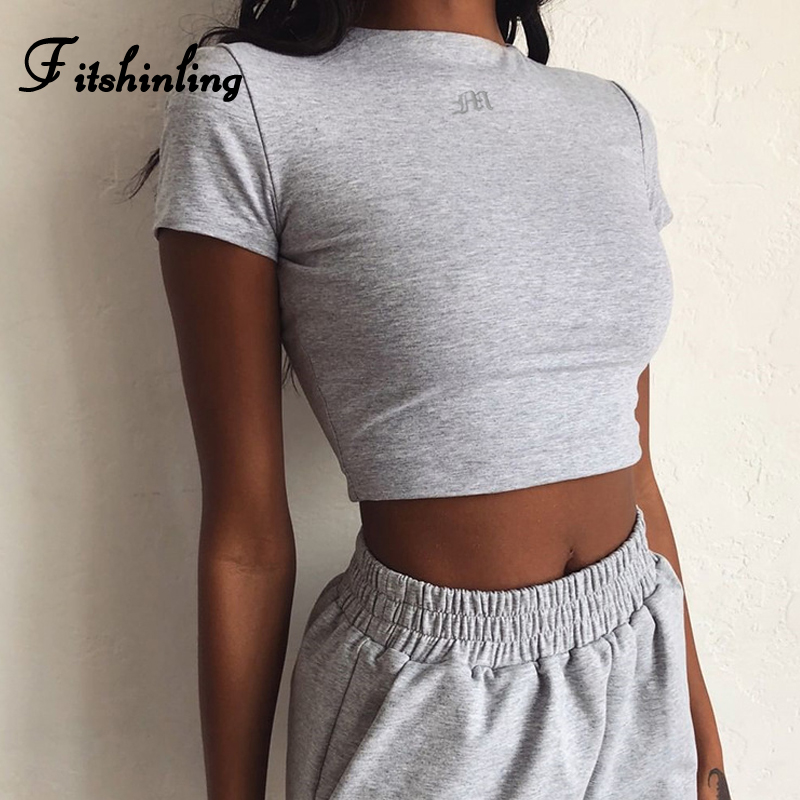 Fitshinling Embroidery Letter Crop Top Summer T Shirt Women Casual Cotton Short Sleeve Basic Tops 2020 Slim Sexy Female T-Shirt