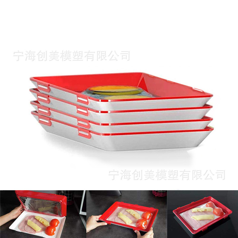 4PC Food Storage Preservation Tray Plastic Food Organizer Container Set Fresh Food Clever Tray Refrigerator Kitchen Cover Plates