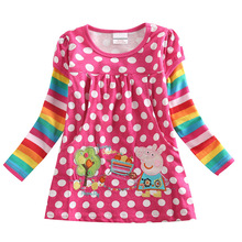 Genuine Authority Peppa Pig Spring and Autumn Child Girl Dress Cartoon Cotton Girls Polka Dot Embroidered Long-Sleeve tong qun split bell sleeve cut and sew polka dot dress