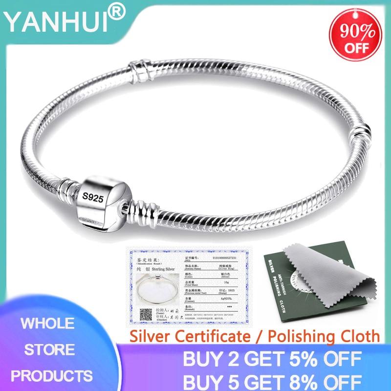 Женский браслет цепочка YANHUI, роскошный браслет из 100% стерлингового серебра 925 пробы, 16 23 см, HB925|Гибкие и жесткие браслеты|   | АлиЭкспресс