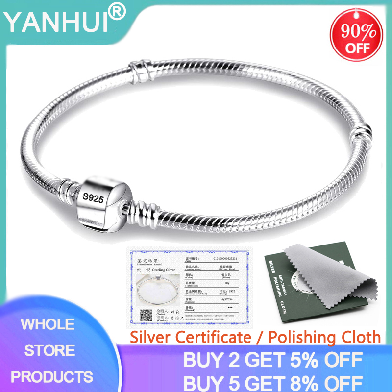 YANHUI With Certificate 100% 925 Sterling Silver Snake Chain Bangle & Bracelet For Women Luxury Jewelry 16-23CM HB925
