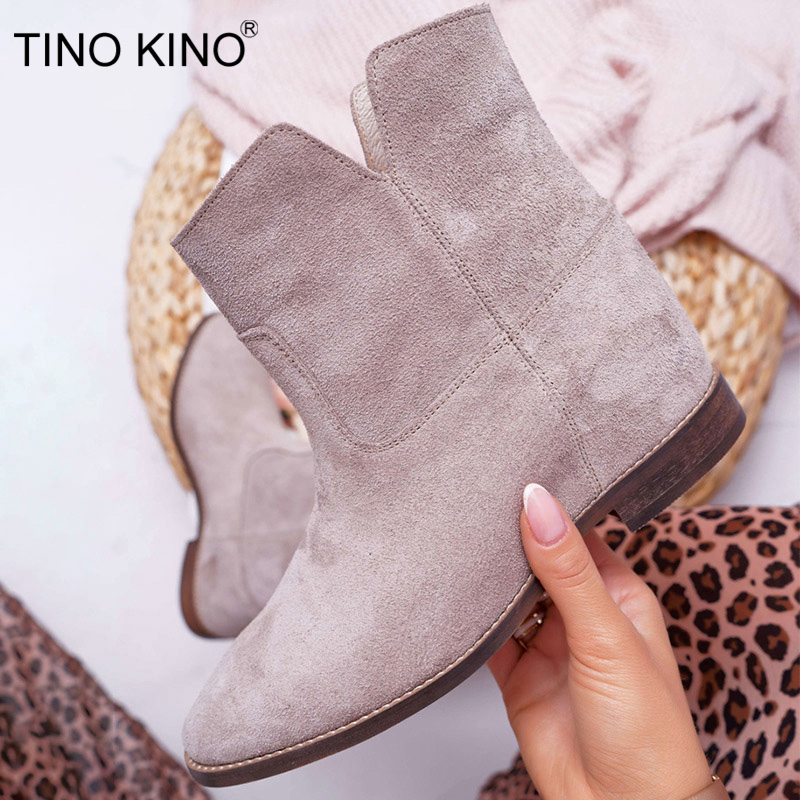 TINO KINO Women's Suede Slip On Ankle Boots Ladies Fashion Sewing Boots Woman Comfort Plus Size Soft Female Casual Shoes