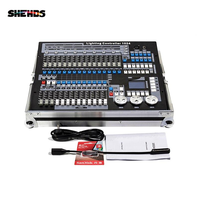 SHEHDS DMX512 שלב אור בקר Dongle 1024 ערוץ עם טיסה מקרה מחשב/SD מצב לא מקוון אור רוכב Dmx בקר דיסקו