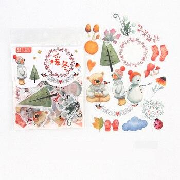 40 pcs /Bag Warm Winter Bear Snow Decorative Stickers Album Diary Hand Account Decor - discount item  18% OFF Stationery Sticker