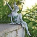 Resin Sitting Statue Fountain Decorative Figurine Porch Angel Sculpture for Yard Home Garden Decoration Garden Ornament