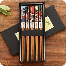 5 пар многоразового набора ручная работа бамбуковые японские