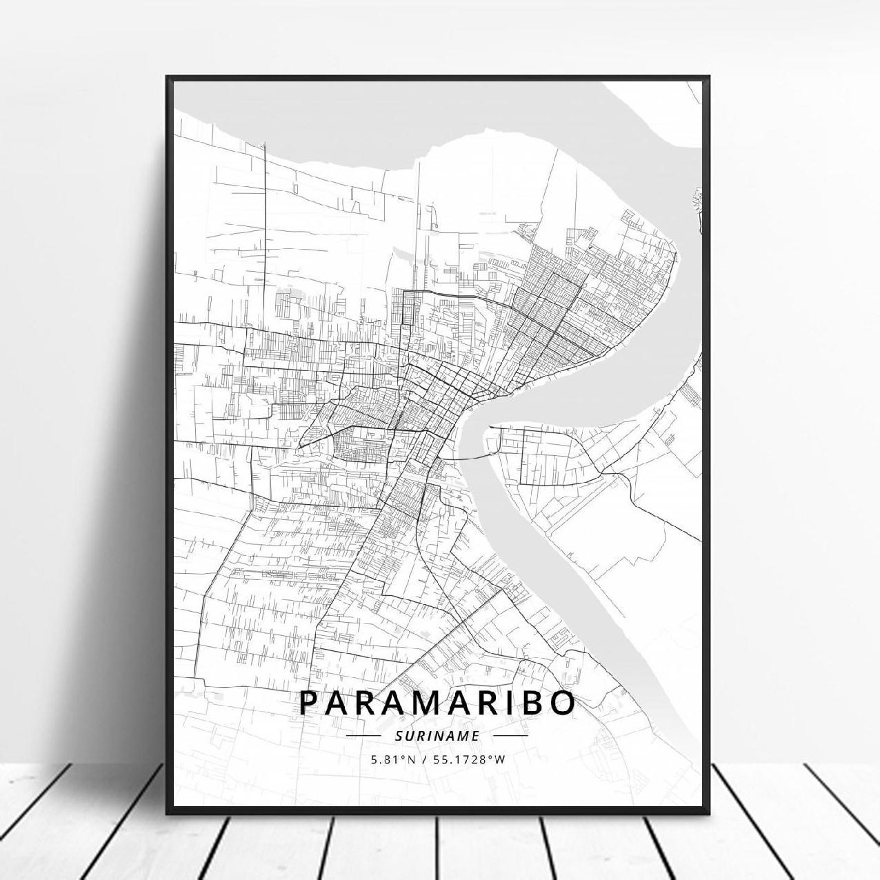 Paramaribo Map Poster Print Wall Map Print Vintage Map Wall Art Paramaribo Map Wall Art Pull Down Map Surinam Map Poster