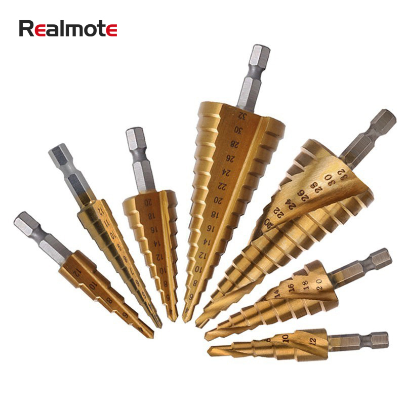 4-12//4-20//4-32mm Gold Multiple Hole Cone Drill Bit Tools with 1//4 Hex Shank Weite 3 Pieces Titanium Coated HSS Spiral Groove Step Drill Bits Set