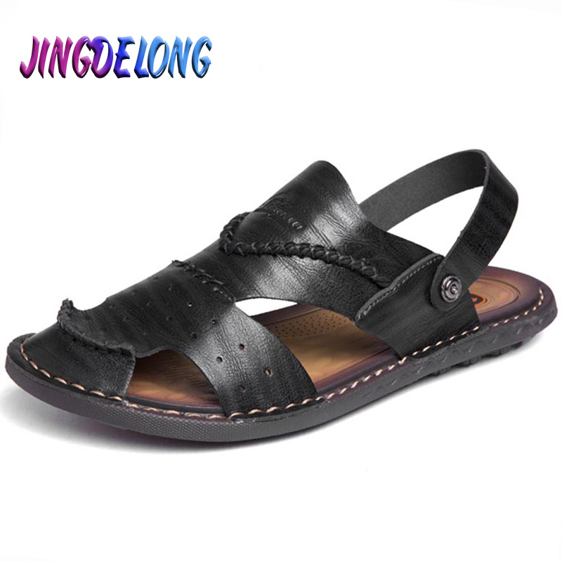 Men Sandals Brand Summer Sandals Men Outdoor Beach Slippers Walking Sneakers Male Moccasins Rome Rubber Sole Casual Shoes 38-47
