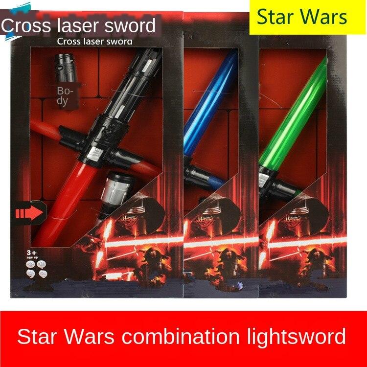 80-156 Cm Star Wars Cross Lightsaber Laser Sword Flash Retractable Cool Boy Star Wars Models Luminou  Lightsabe Toys